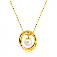 Náhrdelník z ocele v zlatej farbe - guličková retiazka, dva skrížené kruhy, perleťová gulička