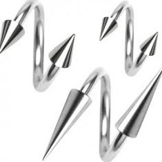 Piercing z chirurgickej ocele, špirálka s hrotom 1,2 mm