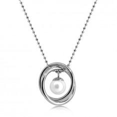 Náhrdelník z ocele v striebornej farbe - guličková retiazka, dva skrížené kruhy, perleťová gulička