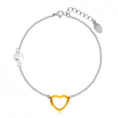 Oceľový náramok s perleťovou guličkou, obrys srdca v zlatej farbe