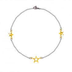 Oceľový náramok - tri hviezdy v zlatej farbe, jemná retiazka