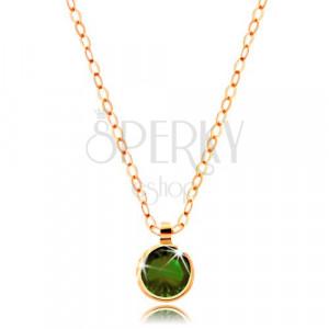 Zlatý náhrdelník s olivovo zeleným zirkónom