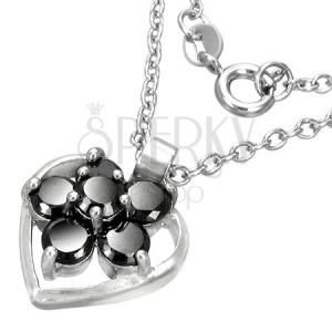 0b7c9296a7b4 Módny náhrdelník so srdiečkom a kvietkom