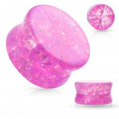Sklenený sedlový plug do ucha s oblými hranami, priehľadný, ružová farba, rozbitý efekt