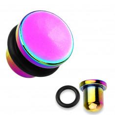 Plug do ucha z ocele 316L a titánu v dúhovej farbe, čierna gumička, rôzne hrúbky