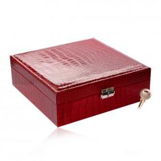 Obdĺžniková šperkovnica červenej farby - imitácia krokodílej kože, pracka, kľúč