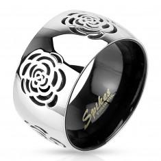 Obrúčka z ocele 316L, strieborno-čierne farebné prevedenie, vygravírované ruže