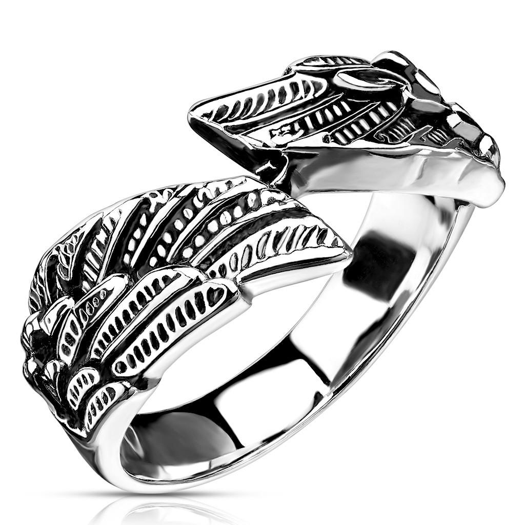 Prsteň z ocele 316L, tvar krídel, strieborné farebné prevedenie - Veľkosť: 59 mm