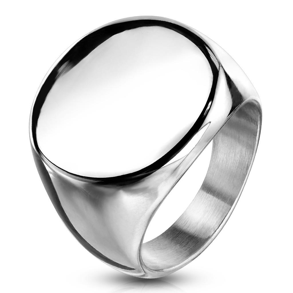 Prsteň z chirurgickej ocele, plochý lesklý kruh, strieborná farba - Veľkosť: 54 mm