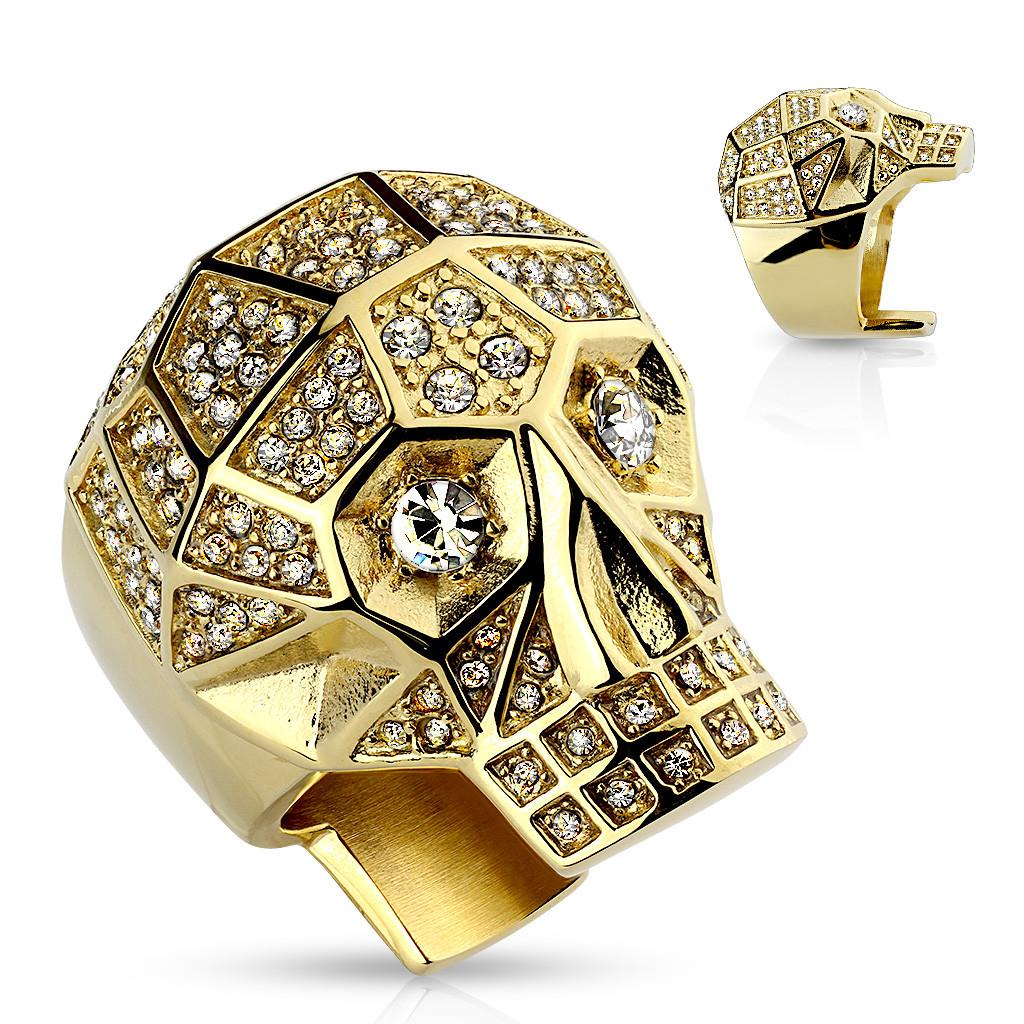 Mohutný prsteň z ocele 316L, zlatá farba, lebka, číre krištále - Veľkosť: 67 mm