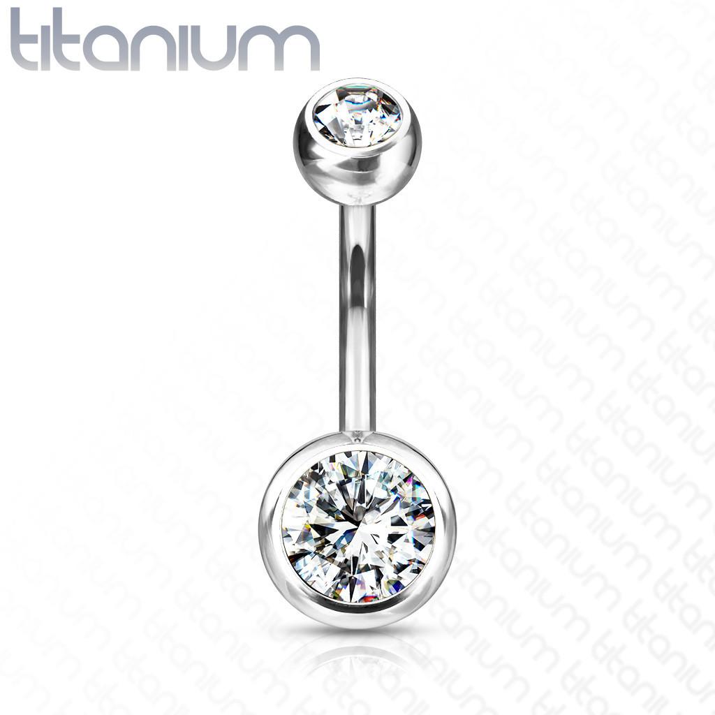 Titánový piercing do pupka - dva číre okrúhle zirkóny, 10 mm