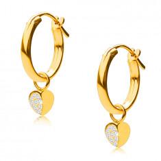 Zlaté náušnice v 14K zlate, kruhy s príveskom srdiečka, francúzsky zámok, 12 mm