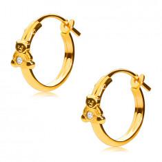 Náušnice zo žltého 14K zlata, kruhy s macíkom a zirkónikom, francúzsky zámok, 12 mm