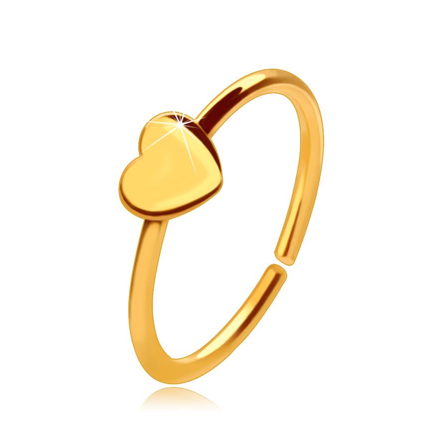 Zlatý 14K piercing do nosa, lesklý krúžok s drobným srdiečkom, 8 mm