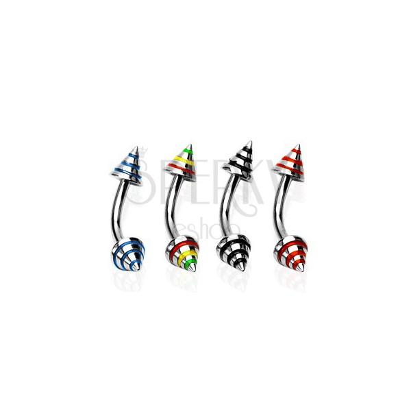 Piercing do obočia s troma farebnými pásmi