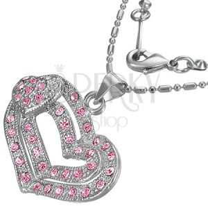Romantický náhrdelník - ružové srdiečka