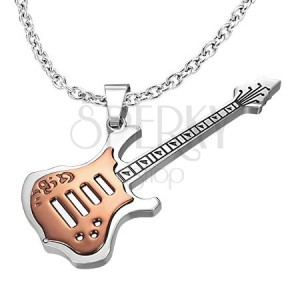 Kovový prívesok gitara medená