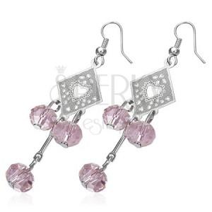 Náušnice - ozdobný kosoštvorec s ružovými korálikmi