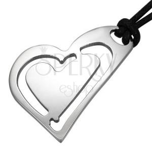 Oceľový prívesok - šikmé srdcia