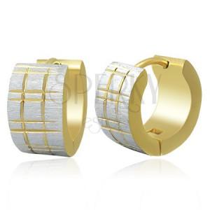 Dvojfarebné oceľové náušnice - matné obruče s ryhovaním zlatej farby