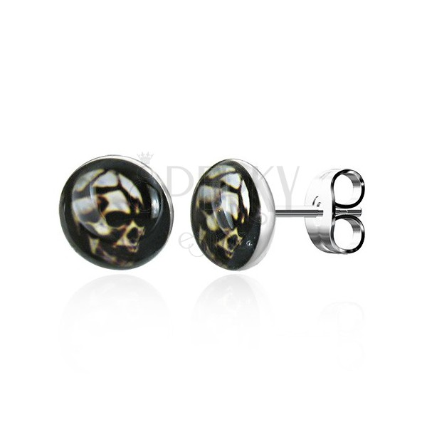 Okrúhle oceľové náušnice - strašidelná lebka, puzetové zapínanie