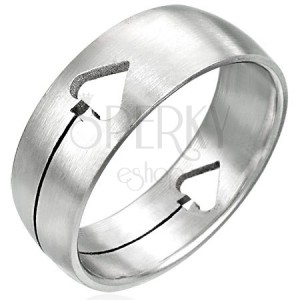 Oceľový prsteň Pikový list