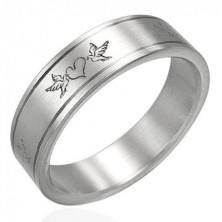Oceľový prsteň- zamilované holuby