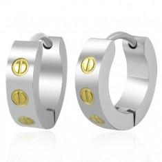 Šperky eshop - Oceľové obruče - skrutky zlatej farby J11.3