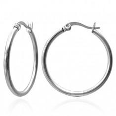 Šperky eshop - Náušnice z ocele 316L - kruhy striebornej farby, 20 mm X10.15