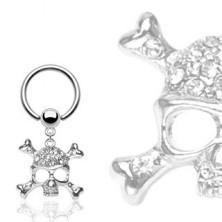 Piercing z ocele 316L - krúžok s guľôčkou, lebka s kosťami v tvare X