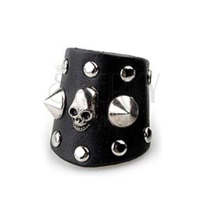 Čierny prsteň z kože - smrtka s hrotmi