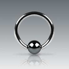 Piercing z ocele 316L - krúžok s tmavosivou guličkou