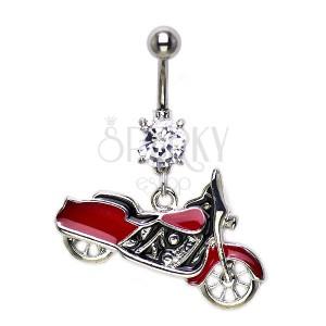 Piercing do pupka červený Harley Davidson