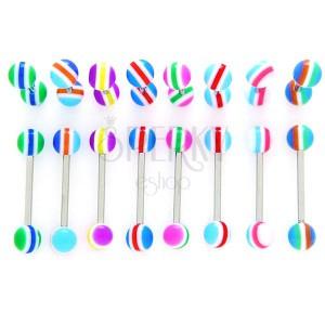Piercing do jazyka - farebné polkruhy, čiarky