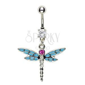 Piercing vážka do pupku - modré delené krídla ružový zirkón