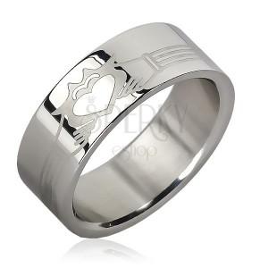 Prsteň z chirurgickej ocele - pásiky, planúce srdce v rukách