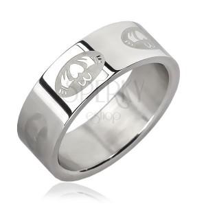 Oceľový prsteň - srdce v ovále