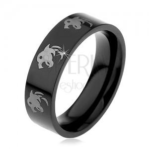 Čierny prsteň z chirurgickej ocele - vlk