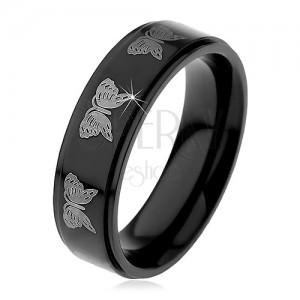 Čierny oceľový prsteň - motív svetlé motýle