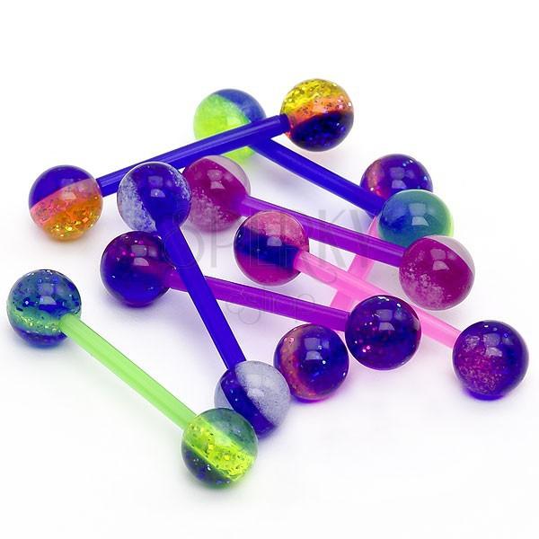 Guľôčkový piercing do jazyka - farebné pásiky, glitre