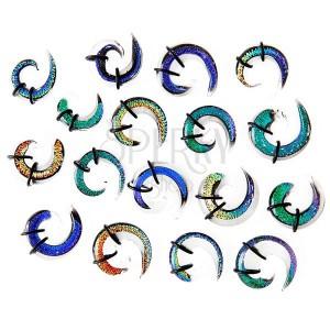 Expander do ucha - viacfarebná sklenená špirálka, gumičky
