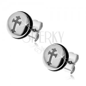 Oceľové náušnice striebornej farby, kruh s krížom a čiernou gumičkou