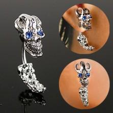 Oceľový piercing do ucha - pirátska lebka so zirkónovými očami