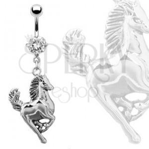 Piercing do pupku - cválajúci kôň striebornej farby