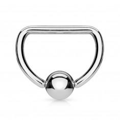 Šperky eshop - Oceľový piercing 316L - krúžok v tvare písmena D s lesklou guličkou I11.11/W23.34 - Rozmer: 1,2 mm x 10 mm