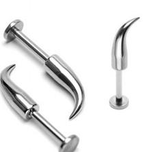 Piercing do brady a pery z ocele 316L - lesklý zahnutý hrot, hrúbka 1,6 mm