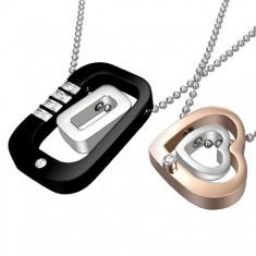 Šperky eshop - Prívesky pre dvoch z ocele - obdĺžniky, srdiečka AA5.25