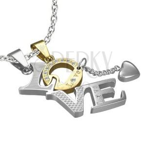 Dvojitý prívesok z ocele - LOVE, písmeno O zlatej farby