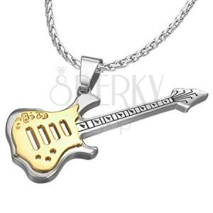 Oceľový prívesok - tvar gitara, zlato - strieborná farba