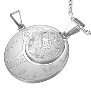Oceľový dvojitý prívesok - hodiny s rímskymi číslicami, ruža